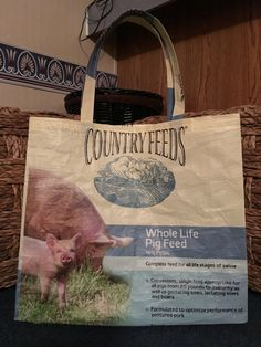 Recycled Repurposed Country Feeds Blue Pig by EarthenVesselCrafts