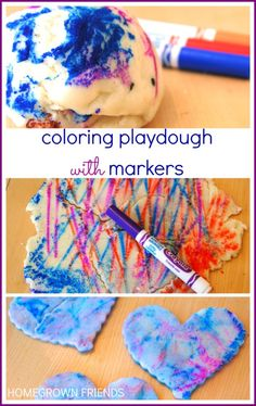 Coloring Playdough with Markers