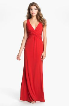 Red Knotted Jersey Surplice Evening Dress