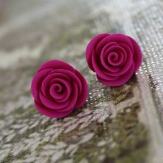 Romantic earrings with hand made roses of fimo polymer clay