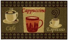 Cafe Cappuccino Espresso Non-Slip Kitchen Rug (Non-Skid) Kitchen Mat Rubber Back Rug 18 x 30 by Maxy Home Kitchen Rugs And Mats, Kitchen Area Rugs, Kitchen Mat, Rubber Backed Area Rugs, Coffee Area, Coffee Cup, Espresso Kitchen, Cappuccino Machine, Kitchen Decor Themes