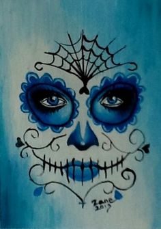 Original ACEO Oil Painting Day of The Dead Face Sugar Skull Make Up Blue | eBay