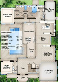 Florida House Plan with Outdoor Oasis - floor plan - Main Level Florida House Plans, Florida Home, Semarang, Layout Design, Huge Shower, Courtyard House Plans, Courtyard Pool, Diy Kit, Half Walls