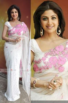 Shilpa in a White Saree