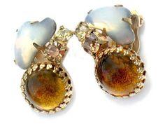 JULIANA Glass Opal Amber Earrings Vintage High Fashion Jewelry Collectable Rhinestone Glass Beauty via Etsy