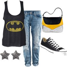 Nerdy Girl Cas, created by melaniejoyv on Polyvore #batman #converse