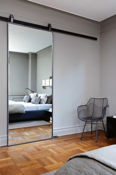 Mirrored bedroom barn door Bedroom Mirror Designs That Reflect Personality Sliding mirror Home, Home Bedroom, Bedroom Barn Door, Bedroom Design, Doors Interior, House Interior, Bedroom Wall, Mirror Wall Bedroom, Interior Design