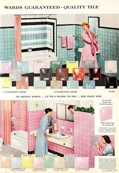 """Pearlescent and Marbleized Montgomery Ward Fall & Winter Catalog 1958 """"Ceramic Tile Designed for 'Do-It-Yourselfers'"""""""