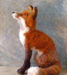Needle Felted Fox by SarafinaFiberArt. $325.00, via Etsy.