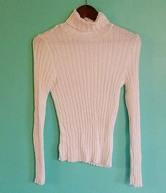 White Cream Ribbed Turtleneck Sweater Size S By Pierre Cardin made in USA Nylon