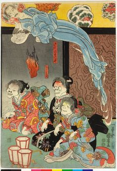 Utagawa Kuniyoshi (歌川国芳) - Woodblock triptych print, oban tate-e. Orikoshi Masatomo (centre) (played by Bando Hikosaburo IV) is attacked by the ghost of Asakura Togo (played by Ichikawa Kodanji IV), who appears on all three sheets. (Right)