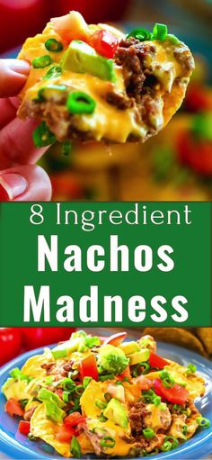 How To Make Only 8 Ingredient Nachos Madness Recipe - made of tortilla chips ground beef cheese tomatoes avocados green onion and refried beans. Best Nachos Recipe out there! Best Nacho Recipe Ground Beef, Ground Beef Nachos, Easy Beef Nachos Recipe, Fajita Recipe, Nachos Mexicanos, Appetizer Recipes, Dinner Recipes, Roast Recipes, Appetizers
