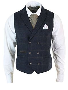 Mens Double Breasted Tweed Herringbone Check Waistcoat 2 Colours Available, Tailored Fit (for a more regular fit we reccomend 1 size bigger) Premium Wool Blend Herringbone Textured Tweed Check Fabric