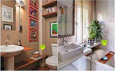 Selecionei fotos de banheiros que mostram detalhes que são fáceis de fazer por você mesma(o) na sua casa e que dão um toque diferente e original – fazendo do seu jeito e não copiando exatamente, só você vai ter! Interiores Design, Corner Bathtub, Decoration, Double Vanity, Home Crafts, Dyi, Architecture Design, Sweet Home, Toque