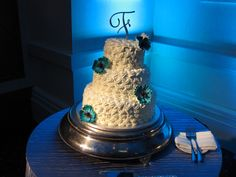 Wedding cake with Blue Backlight and a white pinspot to light only cake up so it will pop!!