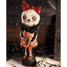 halloween - little skelly and doll - debra schoch