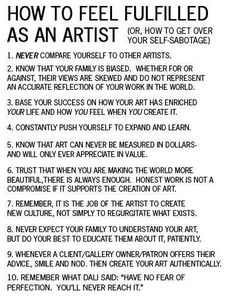 How to feel fulfilled as an artist (or how to get over your self-sabotage) Artist Quotes, Creativity Quotes, Comparing Yourself To Others, Artist Life, Artist Art, Art Classroom, Art Therapy, Art Lessons, Wise Words