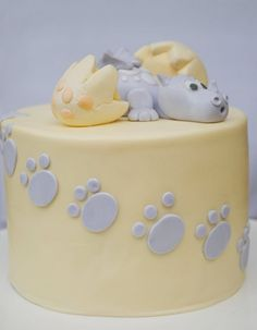Baby dragon cake idea - may get dragon and prints done in red
