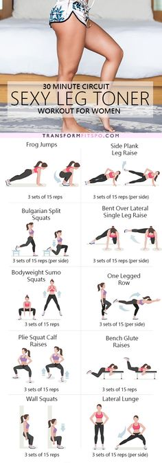 The ultimate sexy leg toner lower body circuit workout – Ever Well Women. Perfect workout for in your hotel room while traveling. Fitness Workouts, Fitness Diet, At Home Workouts, Fitness Motivation, Health Fitness, Butt Workouts, Training Workouts, Fitness Legs, Leg Toning Exercises