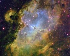 The colorful Eagle Nebula taken at the National Science Foundation's telescope on Kitt Peak. Located in the constellation of Serpens, the Serpent, the Eagle Nebula is a very luminous open cluster of stars surrounded by dust and gas. Cosmos, Hubble Space Telescope, Space And Astronomy, Telescope Images, Astronomy Stars, Eagle Nebula, Orion Nebula, Andromeda Galaxy, Helix Nebula