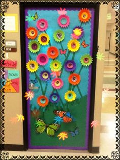 3-D flower door decoration idea