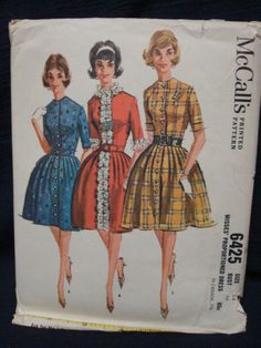 1960s Fit & Flare Full Skirted Dress Pattern FF