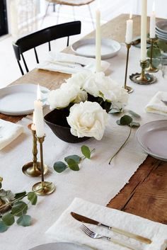 Gorgeous tablescape with brass details