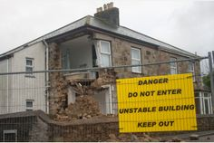 House collapses near Camborne, Cornwall, close to where mine shaft opened up.