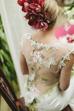 Backless Claire Pettibone wedding dress. From 'Red hair and red lipstick, from 'Claire Pettibone's 'Still Life' Collection ~ Ethereal and Whimsical Wedding Dresses' Photography - http://jesspetrie.com/ Styling - http://www.whiteroombridal.co.uk/ Gowns - http://www.clairepettibone.com/ Florals - http://www.campbellsflowers.co.uk/Page/Show/2/Home