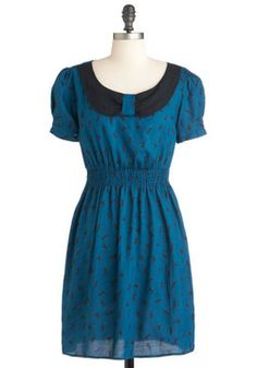 Never Say Neigh Dress, #ModCloth  Blue  Pattern  Horses  Sleeves  Vintage