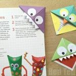 Easy Origami Corner Bookmark How To - turn them into Monsters, Owls and wherever your imagination takes you. A great little gift for book lovers on Father's Day