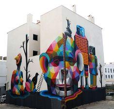 """Universos Paralelos"", a new mural by Okuda in Ibiza, Spain"