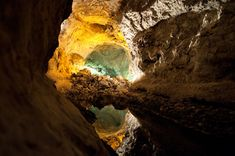 The Cave by Derk Hayenga.     Cueva de los Verdes, a tunnel formed by lava-streams on the Spanish island Lanzarote.