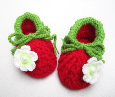 White Pearl Flower Crochet Baby Girl Booties  Size by mymayamade, $18.99