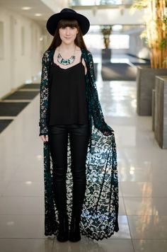 Stunning coverup! Full Length Lace Kimono and Frankie B. Jeans! Via The Style Rawr.