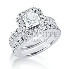 Check out the deal on Halo Style Square Brilliant moissanite wedding Set at MoissaniteBridal.com
