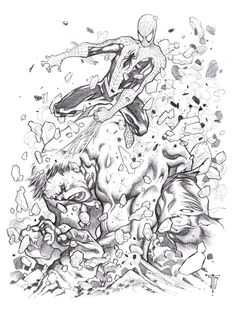 Hulk vs. Spider-Man - J. Justiniano, in the January 2013: Spider-Man Comic Art Sketchbook