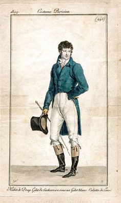 1809   Young Gentleman, France. Fashion plate, Costume Parisien. Long blue cutaway coat, white cravat, white breeches tucked into long fringed boots, top hat, and cane.