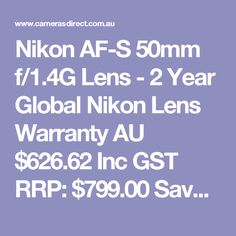 Nikon AF-S 50mm f/1.4G Lens - 2 Year Global Nikon Lens Warranty  AU $626.62 Inc GST RRP: $799.00 Save: $172.38
