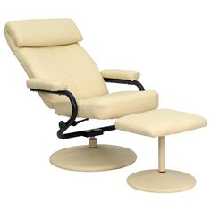 Recline in your favorite position with this comfortable recliner and ottoman set. This set features a built-in pillowtop headrest, thickly padded arms and leather wrapped bases. This set is not only perfect in the home, but makes for a great addition in the office when you need to relax for a bit. The durable leather upholstery allows for easy cleaning and regular care.