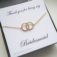 Set of Five 5 Bridesmaids Gift Infinity Gold by AdrianaSparks, $162.00