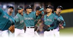 Six-cess: six Mariners combine on no-no - from left to right, Millwood, Furbush, Pryor, Luetge, League, and Wilhelmsen