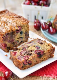 Chocolate Cherry Banana Bread! Exceptionally moist and tender, you won't be able to stop at just one slice!   MomOnTimeout.com