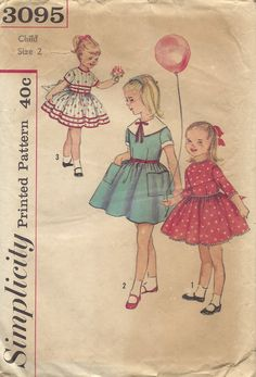 Simplicity vintage 1960s dress: Dress pattern with full skirt has choice of sleeve length, collar style and trim. (I like View 3 — imagine floor-length in white with lace or white-on-white embroidered ribbon instead of contrast ribbon.