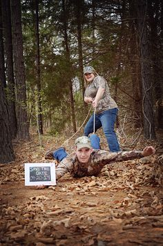 Engagement pictures. Rustic woods. Save the date ideas. Roped up. Camo wedding.