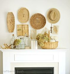 Decoration, Wonderful Traditional Summer Mantel Decor Ideas With Rattan Interior Furniture Ideas: Agreeable Modern Summer Mantel Decorating Ideas with Bright Color Interior Baskets On Wall, Wicker Baskets, Woven Baskets, Decorative Baskets, Wicker Planter, Decorative Accents, Basket Weaving, Wabi Sabi, Painting Wicker Furniture