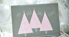 Vaaleanpunaiset kuuset-kortti | Tiimari Creativity, Tableware, Christmas, Xmas, Dinnerware, Tablewares, Navidad, Noel, Dishes