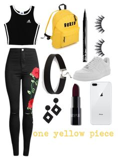 """one yellow piece"" by araceliamachuy on Polyvore featuring NYX, adidas, NIKE, Express and Kenneth Jay Lane"
