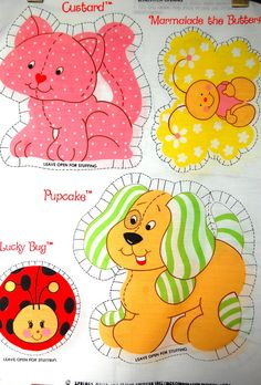 Vintage Strawberry Shortcake Pets Pillow Panels by SprinklesInTime, $12.50