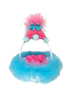 Pink Troll Inspired Tutu Easter Basket This pink troll inspired tutu Easter basket is the perfect piece to add to your Easter collection. A white wicket ba